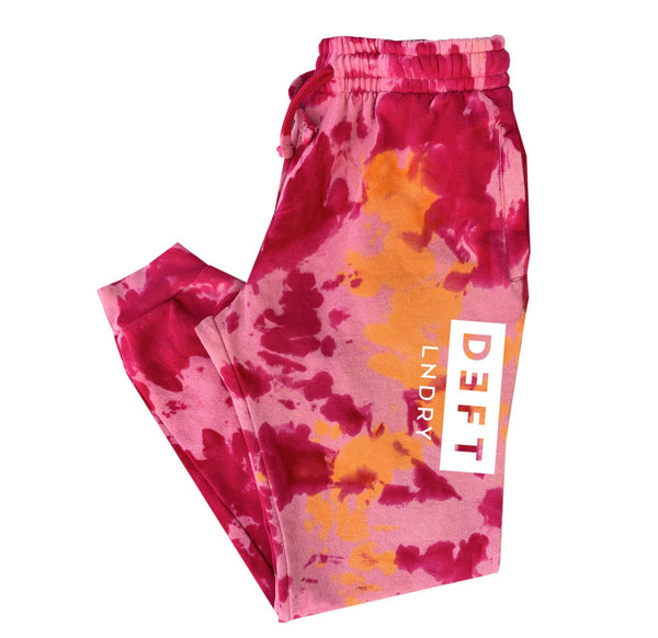 Deft Lndry Track Pants - Pastel Pink/Cherry Tie Dye - deftcollection.com
