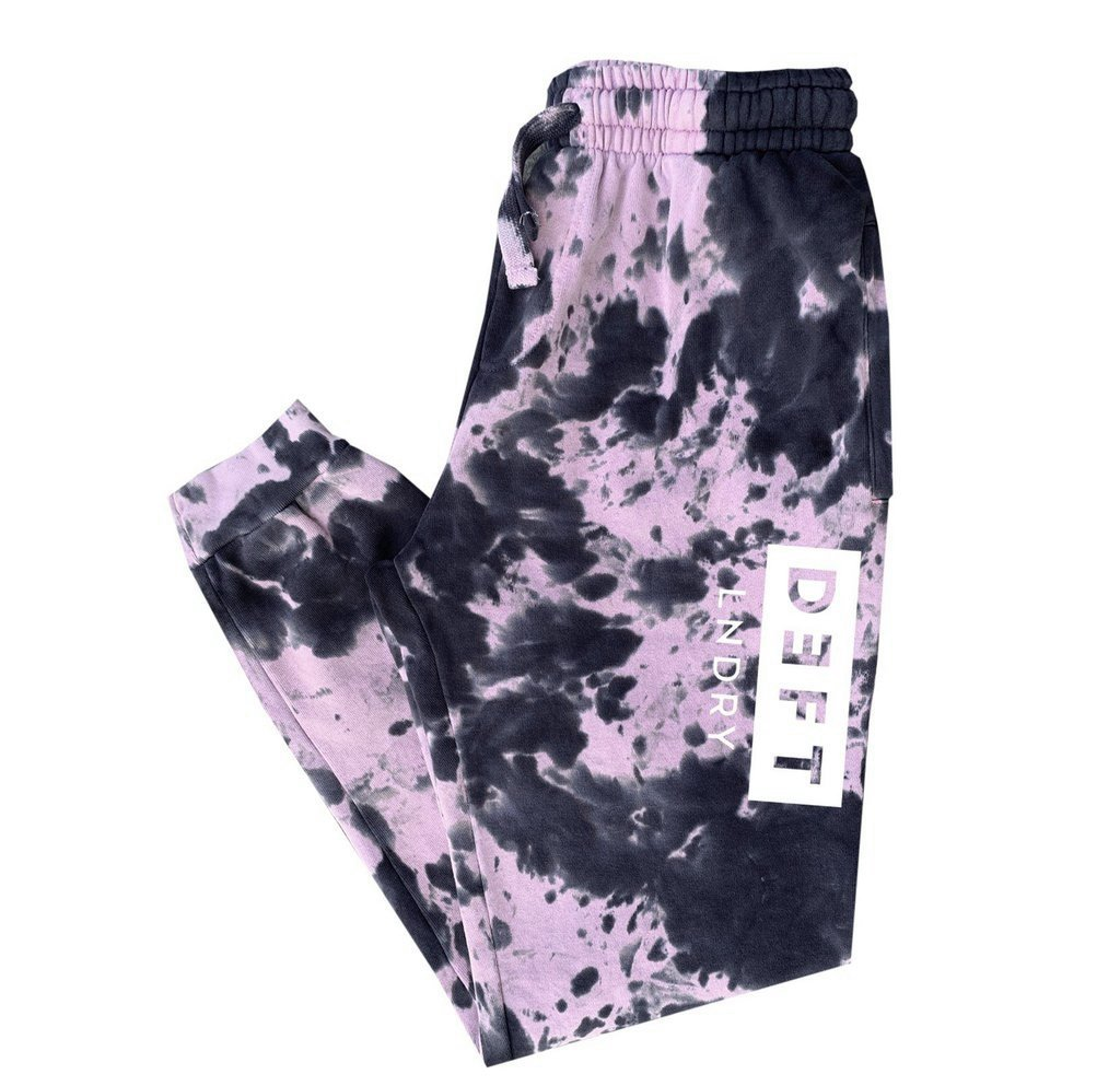 Deft Lndry Track Pants - Pastel Purple/Charcoal Tie Dye - deftcollection.com
