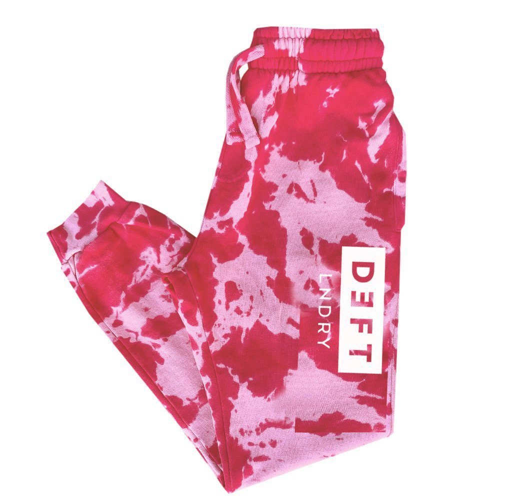 Deft Lndry Track Pants - Pink Musk Tie Dye - deftcollection.com