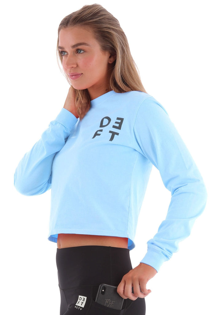 Deft Lndry Women's Cropped Long Sleeve T-Shirt - Fluoro Blue - deftcollection.com
