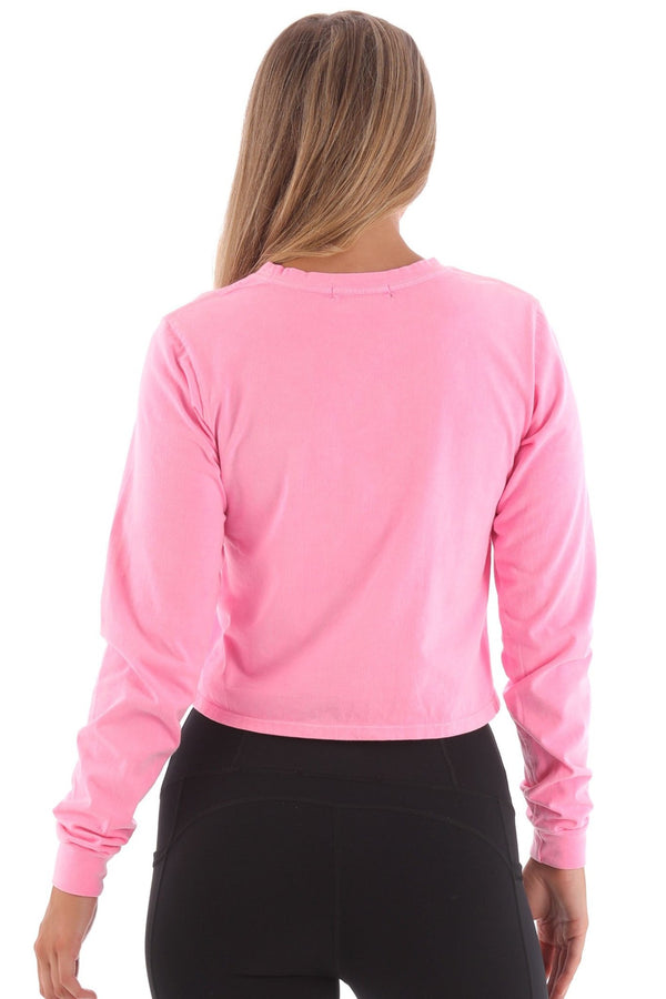 Deft Lndry Women's Cropped Long Sleeve T-Shirt - Fluoro Pink - deftcollection.com