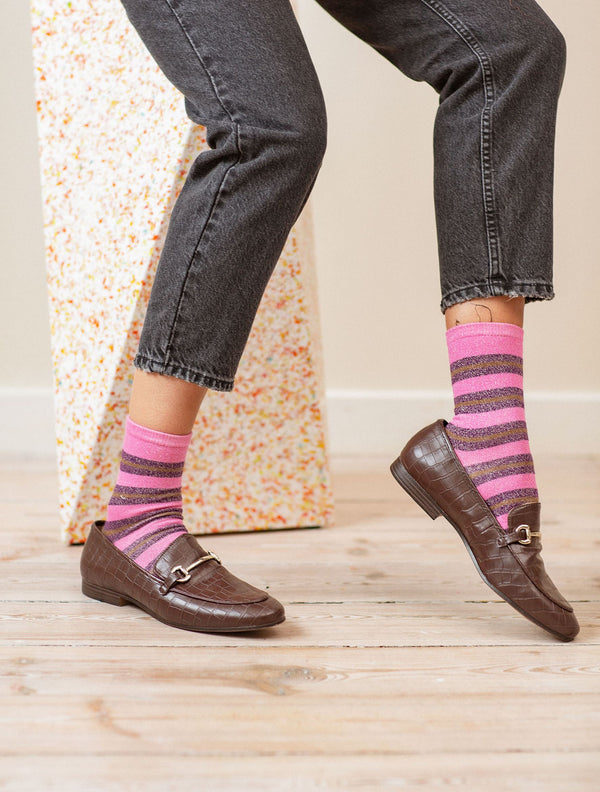 Becksöndergaard, Dalea Big Stripe Sock - Rose Violet, socks, socks