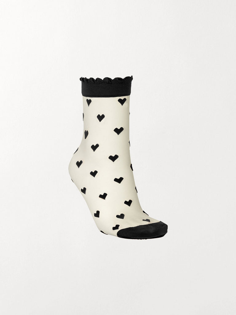 Becksöndergaard, Dagmar Hearts Sock - Black, accessories, socks, accessories, patterned socks, socks, accessories, news, leo