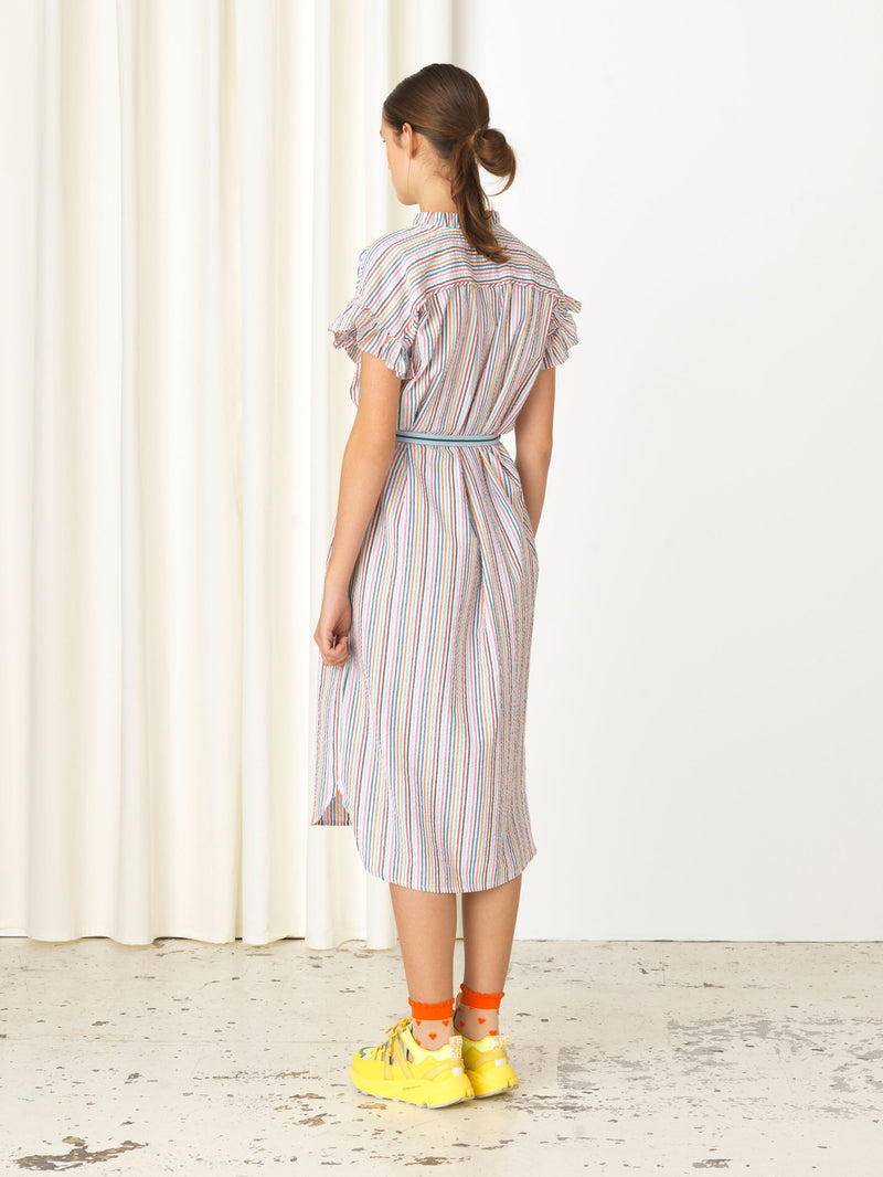 Becksöndergaard, Striped Casey Long Frill - Yellow, clothing, clothing, outlet, outlet