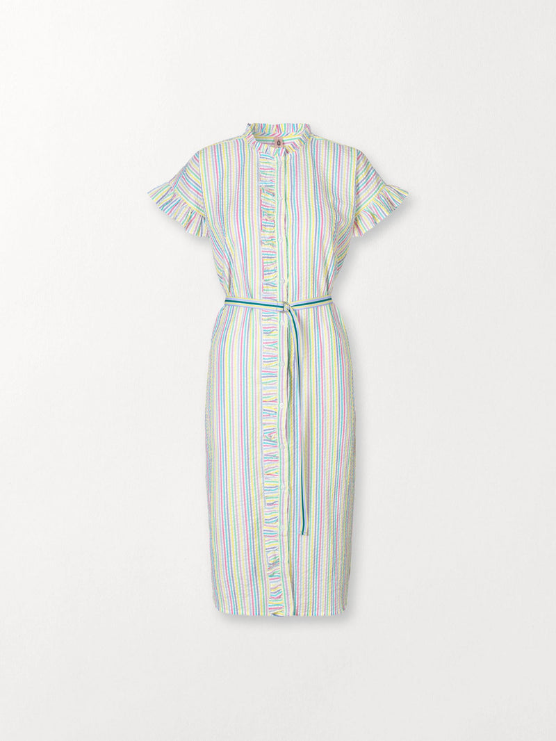 Becksöndergaard, Striped Casey Long Frill - Yellow, outlet flash sale, outlet flash sale