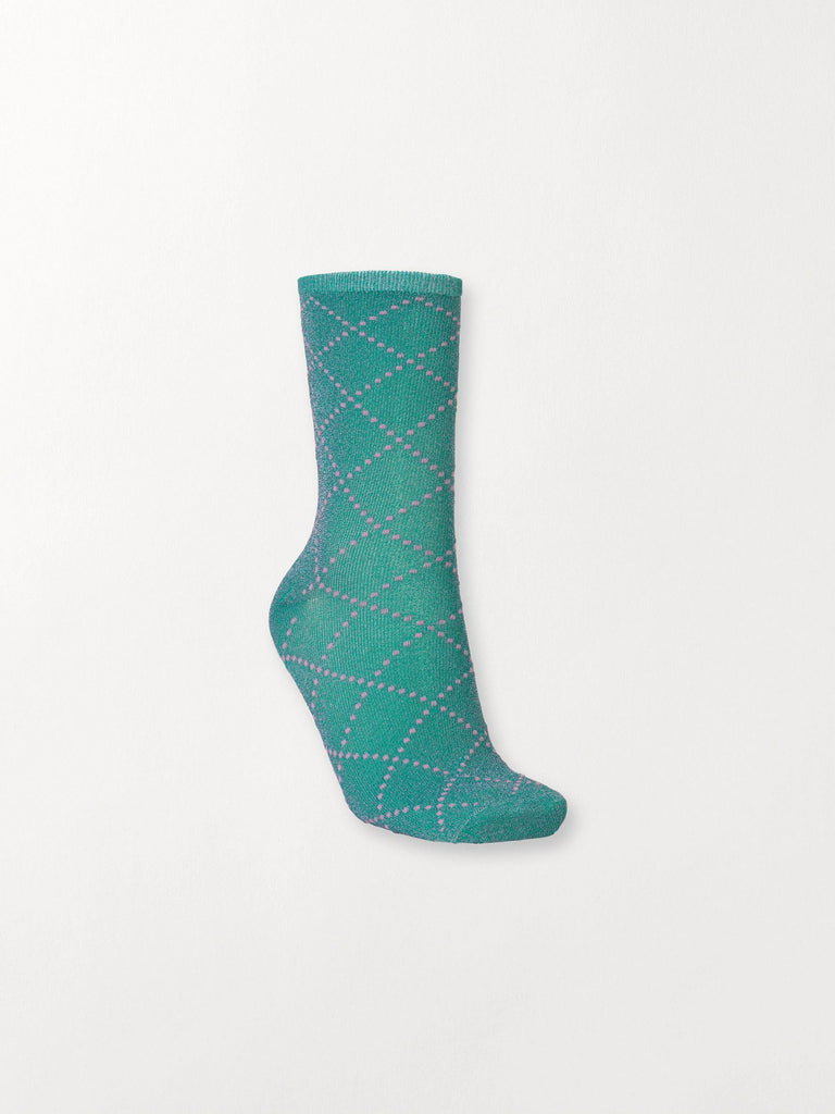 Becksöndergaard, Dina Love Sock - Green, accessories, socks, accessories, patterned socks, socks, accessories, news
