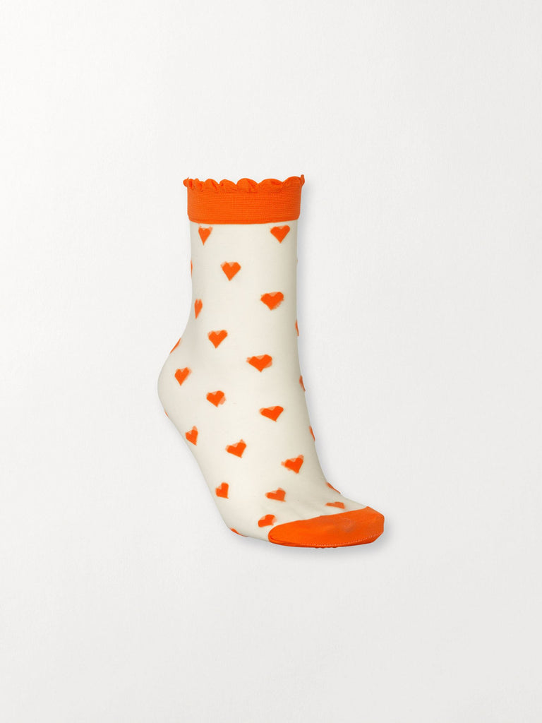 Becksöndergaard, Dagmar Hearts Sock - Orange, accessories, socks, accessories, patterned socks, socks, accessories, news, leo