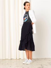 Becksöndergaard, Anglaise Camillia Long Skirt  - Navy Blue, clothing, skirts, clothing, news
