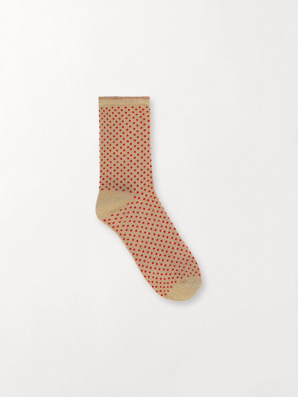 Becksöndergaard, Dina Small Dots - Red Love, socks, noos