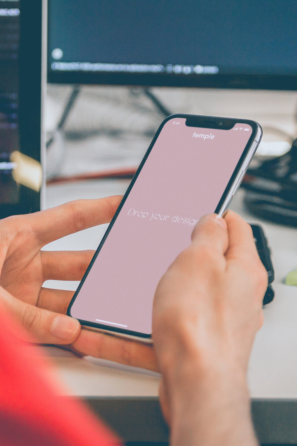 At Desk With iPhone X Mockup