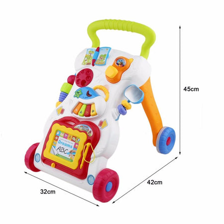 Baby Walker Baby First Steps Car Toddler Trolley Sit-to-Stand Walker for Kid's Early Learning Educational Musical Adjustable H AE4LIFE