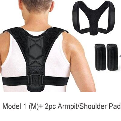 Posture Fixer Back Shoulder Brace AE4LIFE Black M + 2pc Armpit/Shoulder Pad