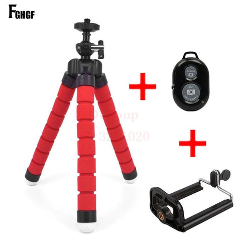 FGHGF Universal Car Mini Flexible Tripod+Bluetooth Remote Shutter For iPhone Mini Portable Selfie phone Stand Clip for redmi 4X AE4LIFE