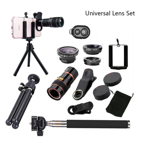 All in 1 Accessories Phone Camera Lens Top Travel Kit For iPhone 8 X 7 6 Plus Samsung galaxy S9 HTC for XIAOMI HUAWEI cellphones AE4LIFE