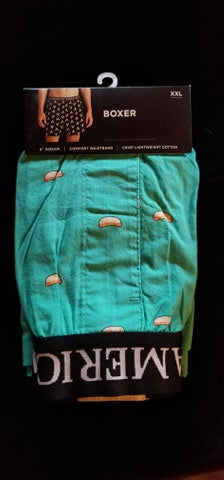 2 XL Hot Dogs on Teal Boxer Shorts 100 % Cotton
