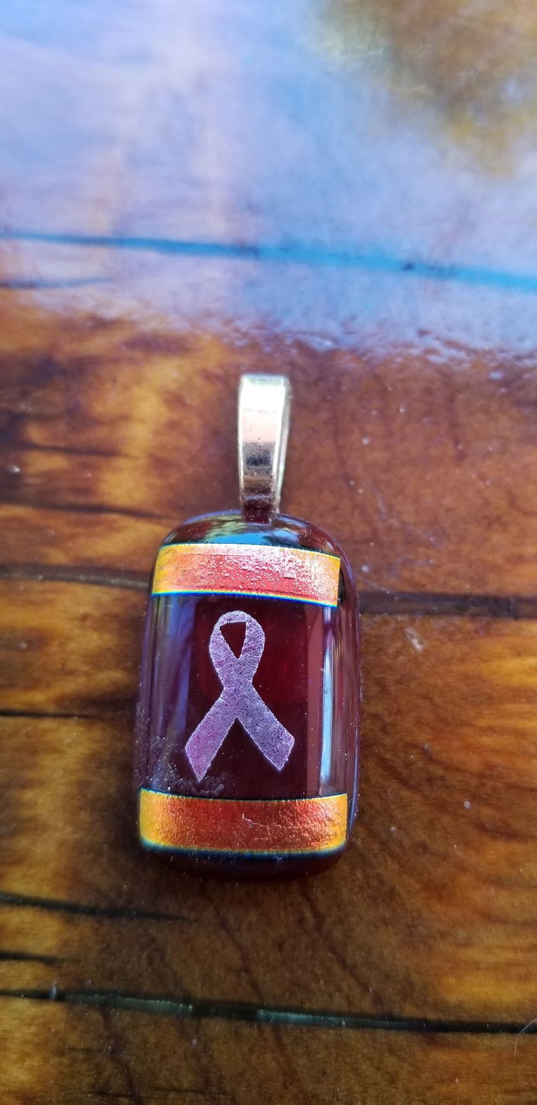 Pink Ribbon on Red Pendant