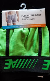 XL Lime Green Wicking Fabric 6 Inch Flex Boxer Brief