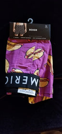 Hot Dogs on Purple Boxer Shorts 100 % Cotton