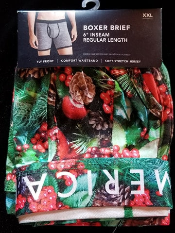 Pine Cones and Holly Berries 6 Inch Inseam Boxer Brief