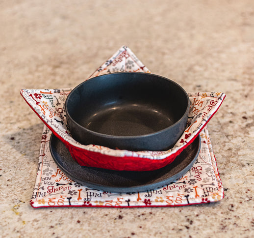 Bowl & Plate Cozy Set - Red Woof