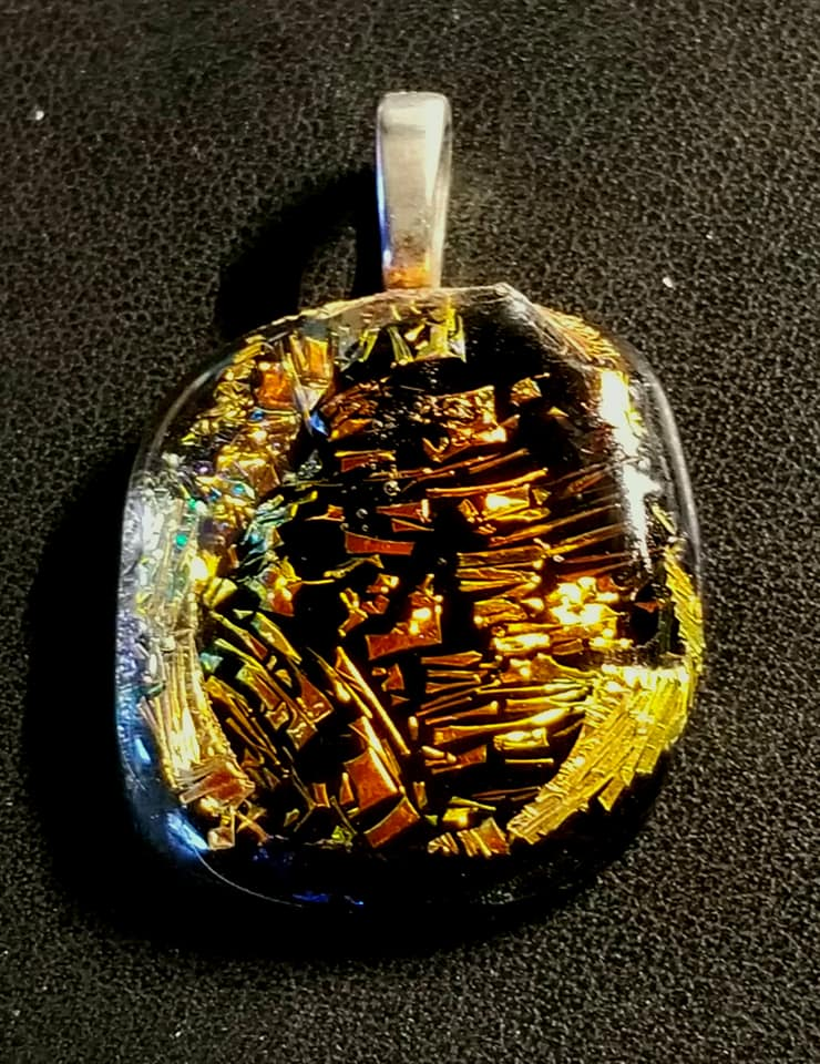 """Gold Canyon"" Dichroic Fused Glass Pendant"