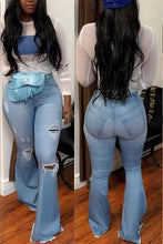 "Load image into Gallery viewer, Inoltre ""Ring My Bell"" Stretchy Ripped Bell Bottom Jeans"