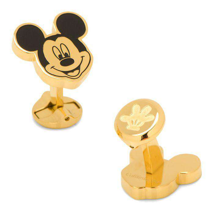 Stainless Steel Black and Gold Mickey Mouse Cufflinks