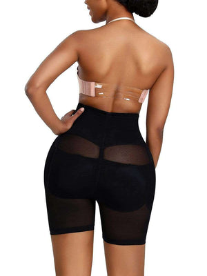 Black Mesh Butt Lifting Tummy Slimming Shorts S-4XL