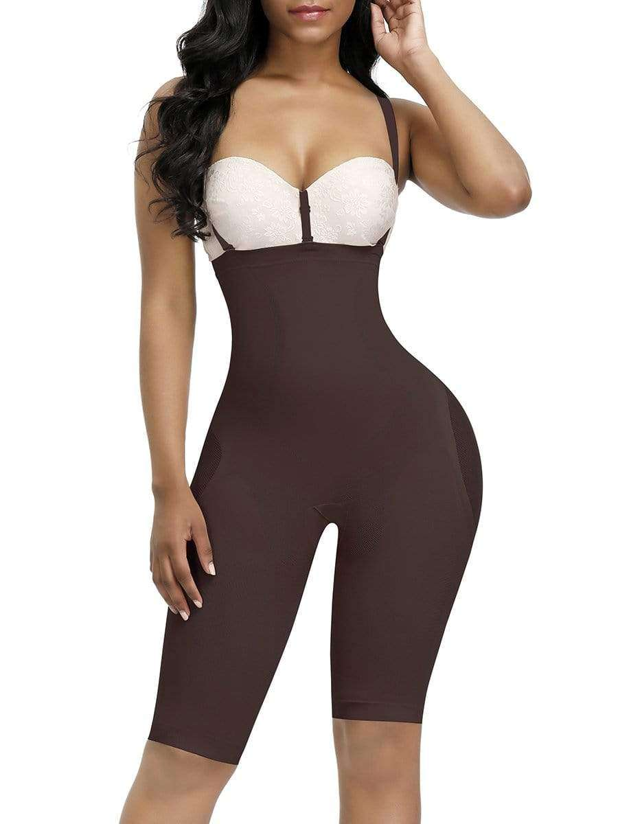 Dark Coffee Knee Length Full Body Shaper Sheer Mesh Button Tab Firm Control
