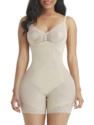 Nude Hourglass Lace Trim Full Body Shaper With Open Crotch