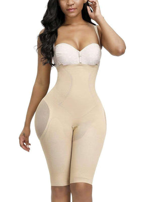 Nude Knee Length Full Body Shaper Sheer Mesh Button Tab Firm Control