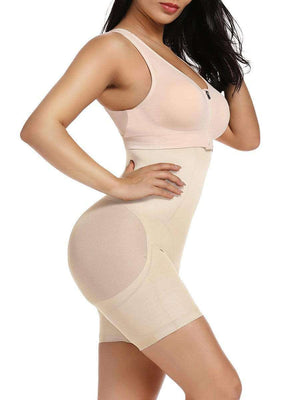 Nude Short Full Body Shaper Sheer Mesh Button Tab Firm Control