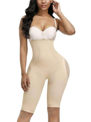 Open image in slideshow, Nude Knee Length Full Body Shaper Sheer Mesh Button Tab Firm Control