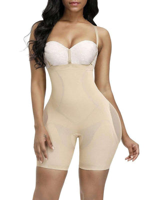 Open image in slideshow, Nude Short Full Body Shaper Sheer Mesh Button Tab Firm Control