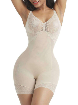Open image in slideshow, Nude Hourglass Lace Trim Full Body Shaper With Open Crotch