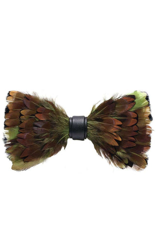 BROWN AND LIME PHEASANT FEATHER BOW TIE Bow Ties Inoltre