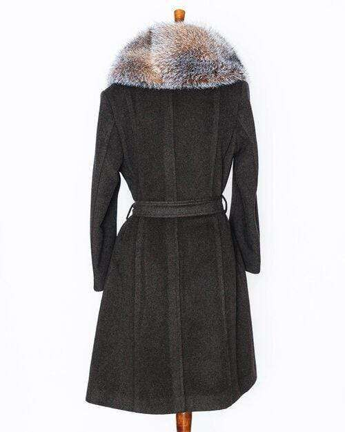 """Ms.Hawkins"" Wool Green Belted Wrap Coat with Detachable Crystal Fox Fur Collar Coat (Made to Measure)"