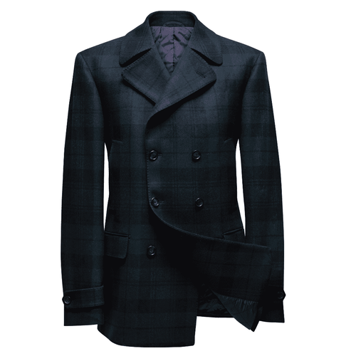 INOLTRE Coat Custom / Navy/Green Mr.Green Plaid Pea Coat (Made to Measure)