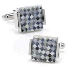 Load image into Gallery viewer, Floating Mother of Pearl Checkered Cufflinks