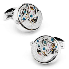 Load image into Gallery viewer, Silver Stainless Steel Kinetic Watch Movement Cufflinks