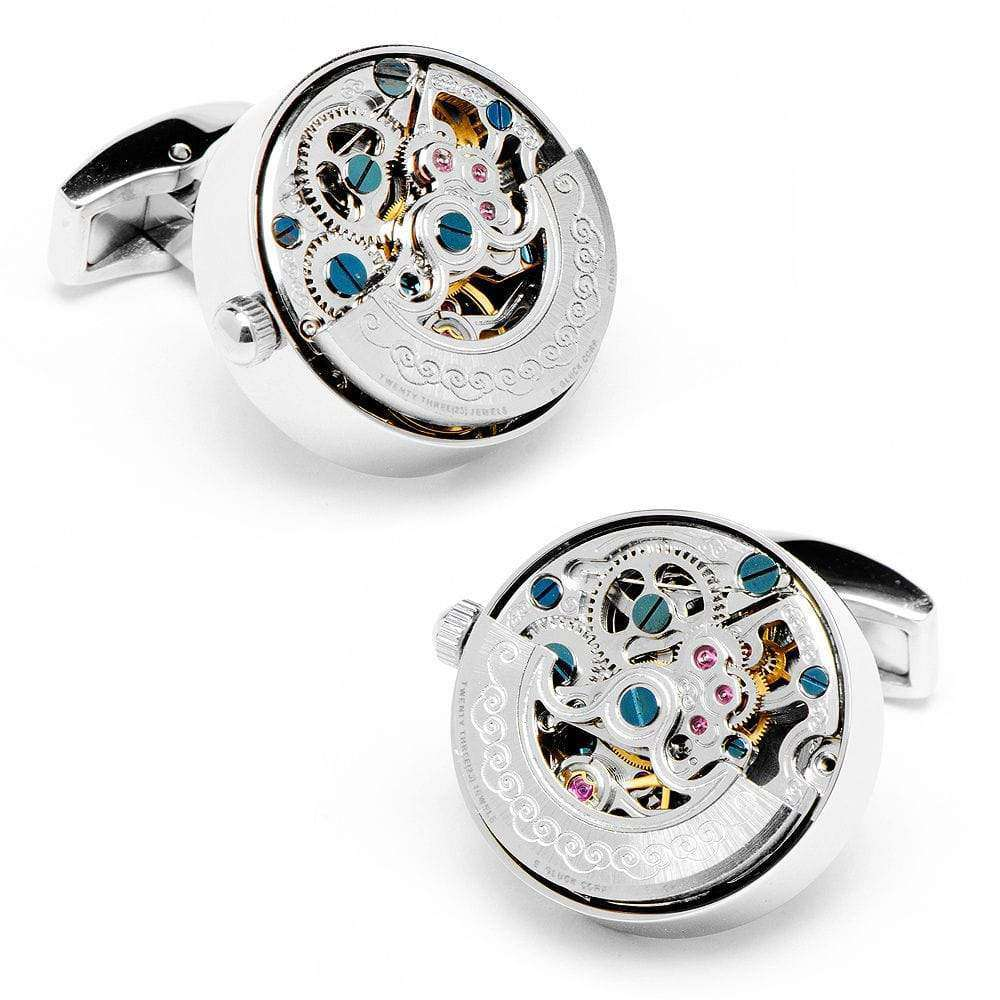 Silver Stainless Steel Kinetic Watch Movement Cufflinks