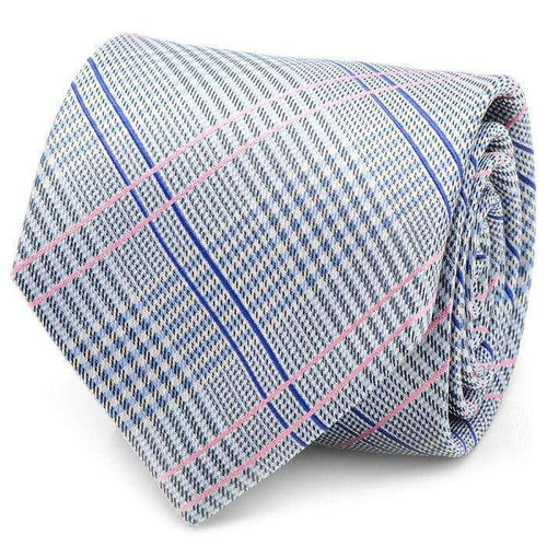 Ox and Bull Trading Co. Neck Tie Blue Blue and Pink Glen Plaid Silk Tie