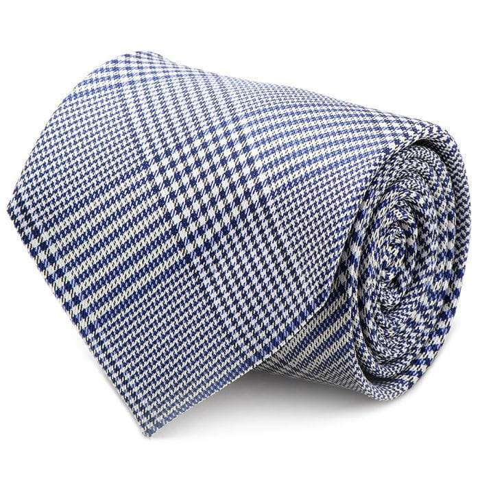 Ox and Bull Trading Co. Neck Ties Blue Blue Glen Plaid Silk Tie