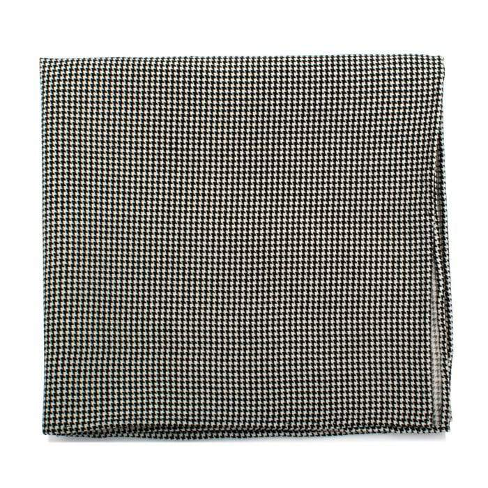 Ox and Bull Trading Co. Pocket Squares Black and white Black and White Houndstooth Silk Pocket Square