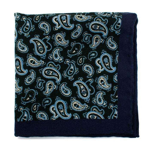 Ox and Bull Trading Co. Pocket Squares Blue Green and Blue Paisley Wool Pocket Square