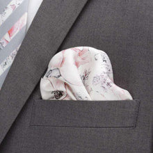 Load image into Gallery viewer, Ox and Bull Trading Co. Pocket Squares white Painted Floral Gray Pocket Square