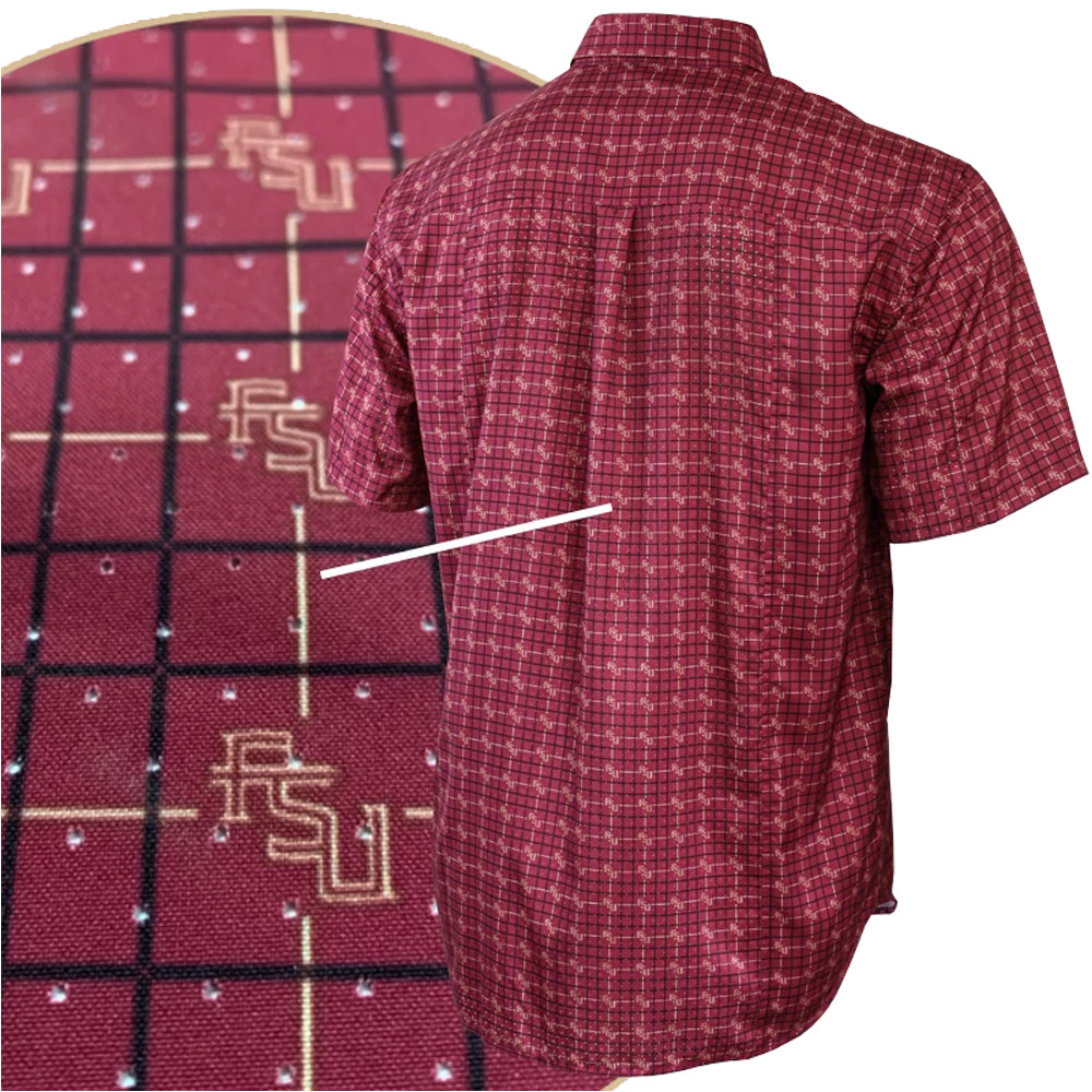 Florida State University FSU Garnet Game Day Short Sleeve Woven Shirt