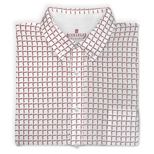 Folded white Florida State University FSU Seminoles Plaid Long Sleeve Button-down Shirt with Collar