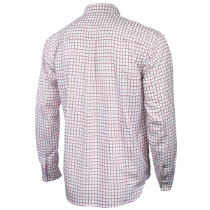 Back view of white Florida State University FSU Seminoles Plaid Long Sleeve Button-down Shirt with Collar
