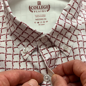 Close up of white Florida State University FSU Seminoles Plaid Long Sleeve Button-down Shirt Collar and button